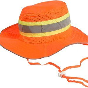 Booney Hat with adjustable neck strap, LG, Orange